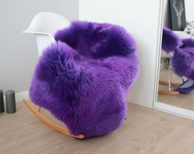 Genuine Natural Purple Sheepskin Rug Sheepskin Throw  Scandinavian Style | Scandinavian Rug | Purple Sheepskin
