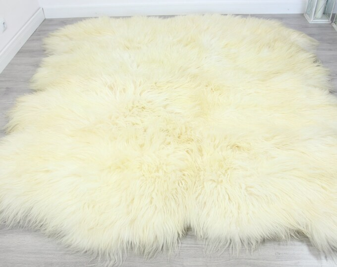 Genuine Natural icelandic creamy white Sheepskin Rug, Giant sheepskin rug, octo sheepskin rug
