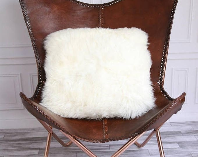 Real Creamy White Sheepskin Pillow Sheepskin Cushion 3 SIZES! M, L, XL