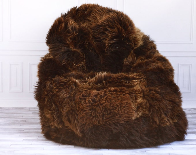 Sheepskin Beanbag Brown | Sheepskin Bean Bag | Sheepskin Pouf | Brown Bean Bag Huge Bean Bag Furry Bean Bag | Bean Bag | Beanbag |