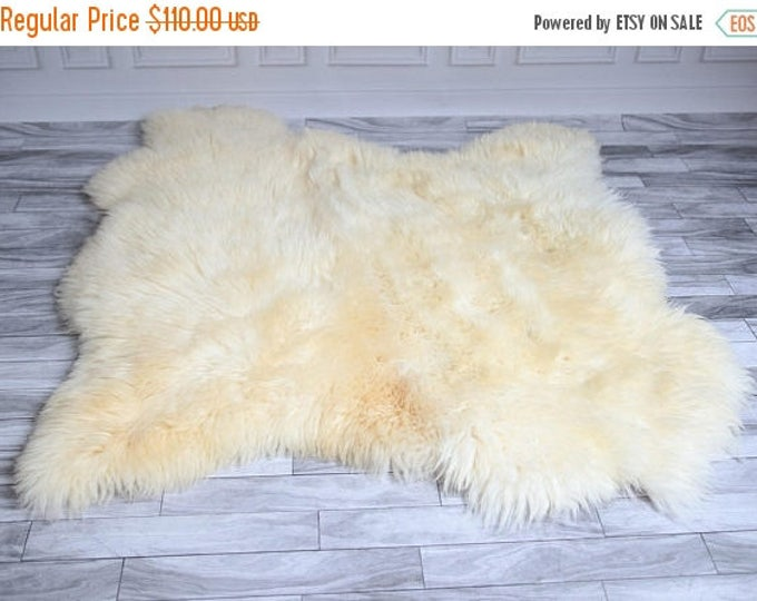 ON SALE Double Sheepskin Rug | Shaggy Rug | Chair Cover | Area Rug | Square Sheepskin Rug