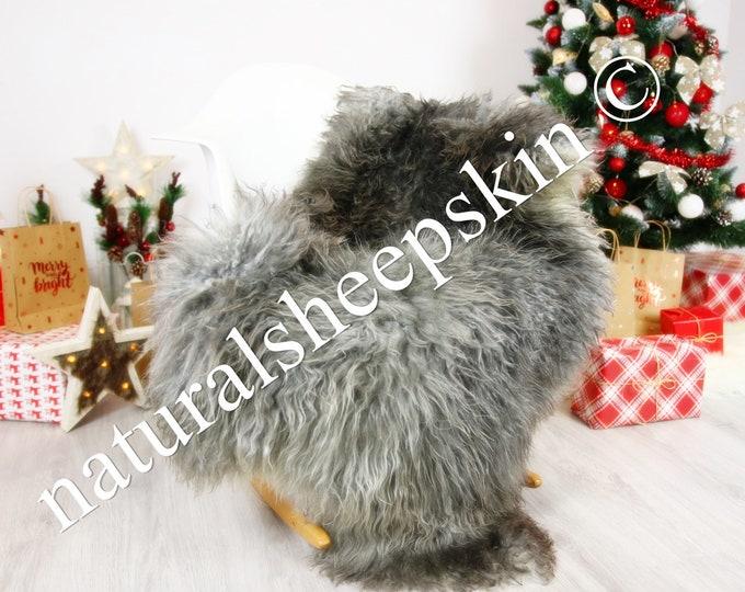 Genuine Rare Gotland Sheepskin Rug - Curly Fur Rug - Natural Sheepskin - Gray  Sheepskin #CHRISTGOT3