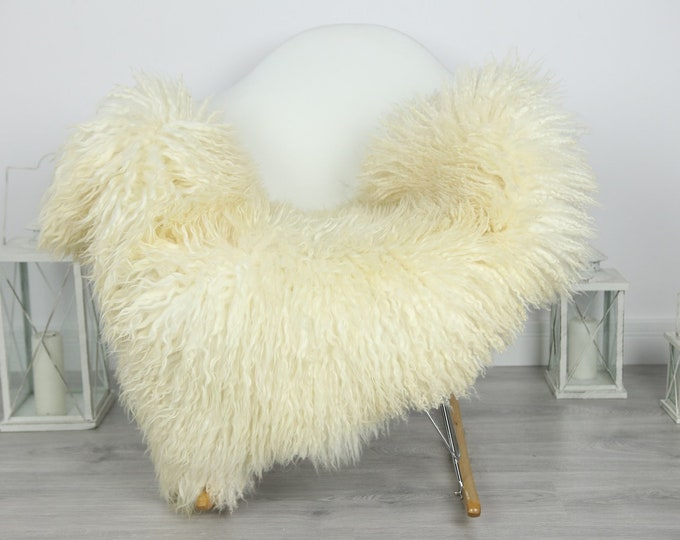 Genuine Rare Mongolian Sheepskin Rug - Curly Fur Rug - Natural Sheepskin - Ivory Sheepskin #CURLY35
