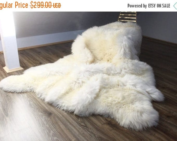 Genuine Natural creamy white Sheepskin Rug, Pelt,  Giant Sheepskin throw  Sexto