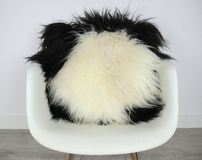 Sheepskin Fur Pillow, Real fur pillow, Black fur pillow, Square sheepskin pillow, Black white pillow, scandinavian pillow, Both side fur