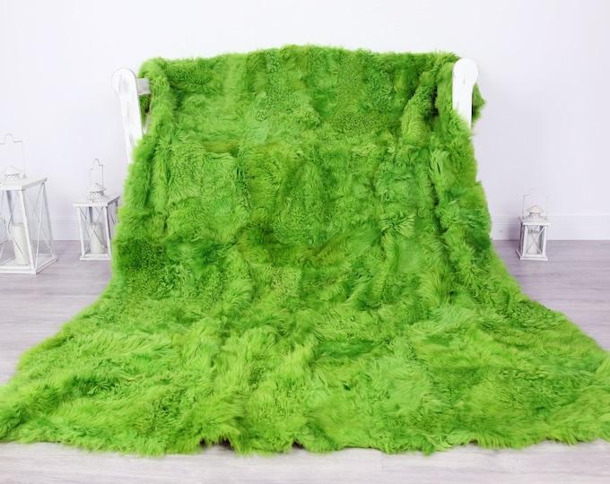 Luxurious Toscana Sheepskin Real Fur Throw   Real Fur Blanket   Sheepskin throw   Green Throw