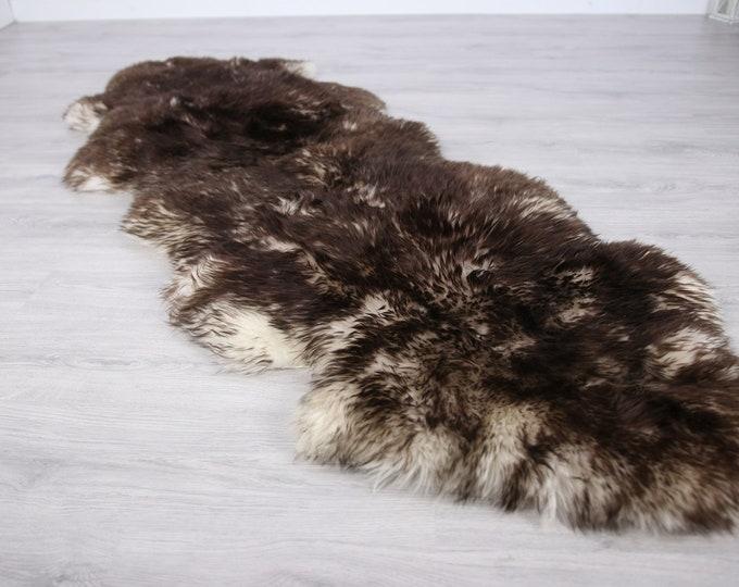 Double Sheepskin Rug | Long rug | Shaggy Rug | Chair Cover | Runner Rug | Brown Rug | Carpet | Brown Sheepskin | Brown Sheepskin LUSZY1