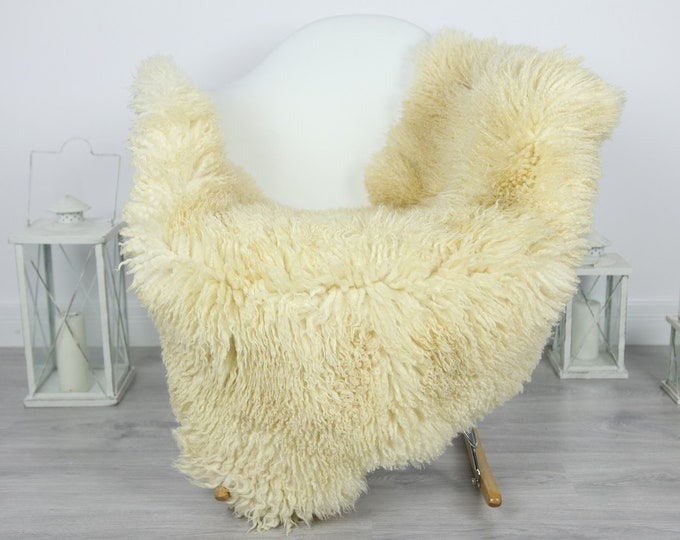 Genuine Rare Tuscan Lamb Sheepskin Rug - Curly Fur Rug - Natural Sheepskin - Ivory  Sheepskin | #CURLY26