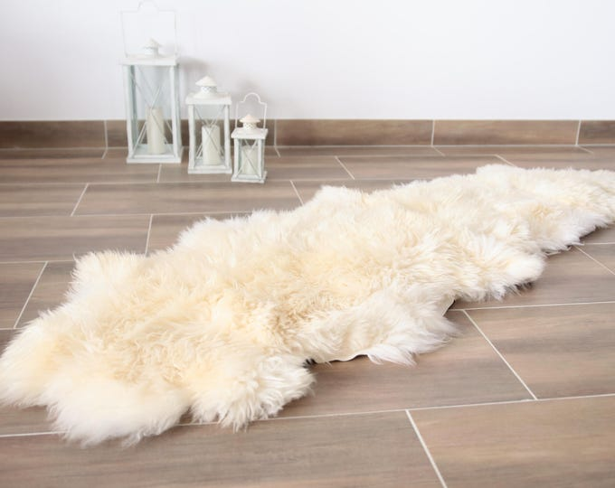 Double Sheepskin Rug | Creamy White sheepskin | Shaggy Rug | Chair Cover | Area Rug | Rectangle Sheepskin Rug | Sheepskin Throw |