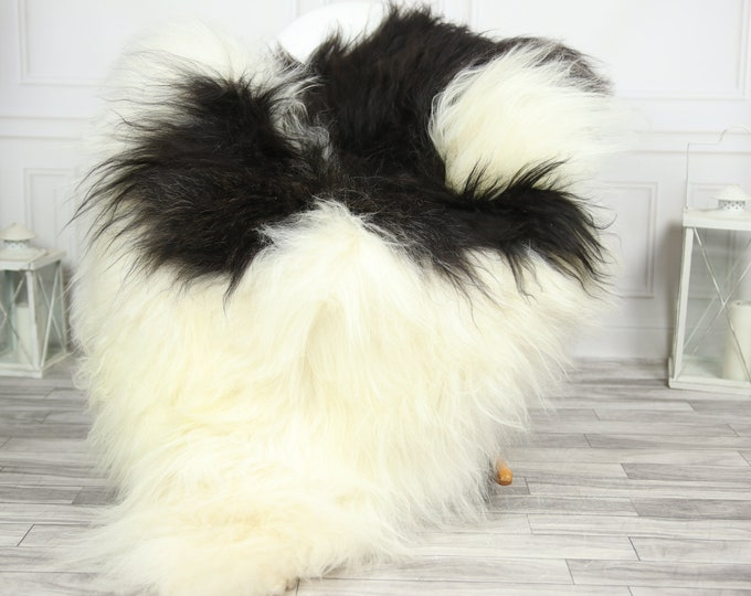 Icelandic Sheepskin | Real Sheepskin Rug | CHRISTMAS DECOR | Sheepskin Rug Black White | Fur Rug | Homedecor #2ISL20