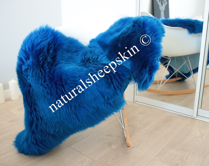 Genuine Natural Indigo Sheepskin Rug Sheepskin Throw  Scandinavian Style | Scandinavian Rug | Indigo  Sheepskin