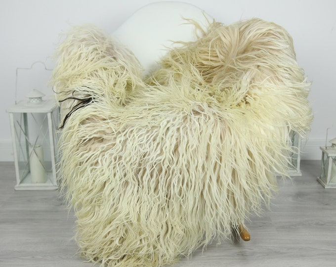 Genuine Rare Mongolian Sheepskin Rug - Curly Fur Rug - Natural Sheepskin - Ivory Beige Sheepskin #CURLY22