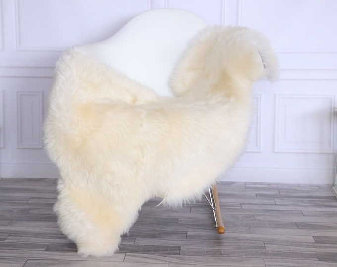 Sheepskin Rug | Real Sheepskin Rug | Shaggy Rug | Chair Cover | Sheepskin Throw | Beige | CHRISTMAS DECOR | #LISHER19