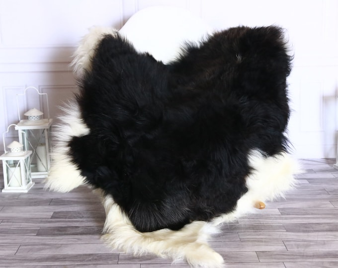 Icelandic Sheepskin | Real Sheepskin Rug | Sheepskin Rug White Black | Fur Rug | Homedecor #WRZISL11