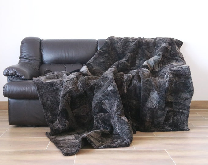 Luxurious Shorn Sheepskin Real Fur Throw | Real Fur Blanket | Sheepskin throw | Gray Brown Throw