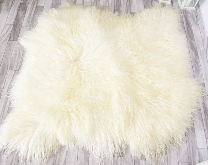 Double Real Mongolian Sheepskin Rug Square Sheepskin Rug Curly fur