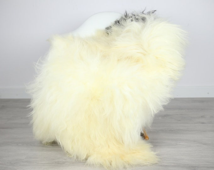 Icelandic Sheepskin | Real Sheepskin Rug | | Large Sheepskin Rug Ivory Black | Fur Rug | Homedecor | Sheepskin Throw | Long fur #colisl25