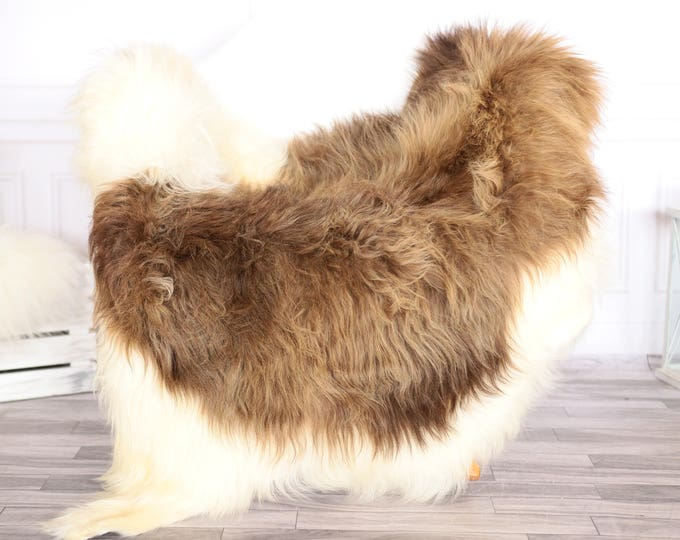 Icelandic Sheepskin | Real Sheepskin Rug | Ivory Brown Sheepskin Rug | Fur Rug | Scandinavian dedcor | #JANISL90