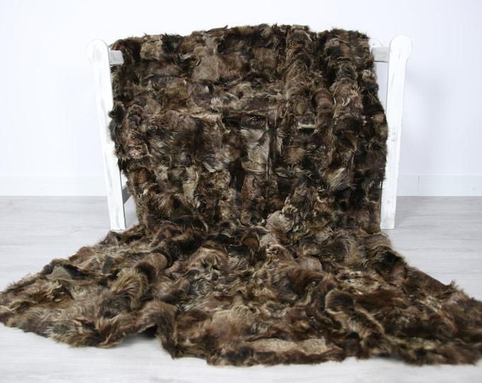 Luxurious Toscana Sheepskin Real Fur Throw   Real Fur Blanket   Sheepskin throw   brown Throw