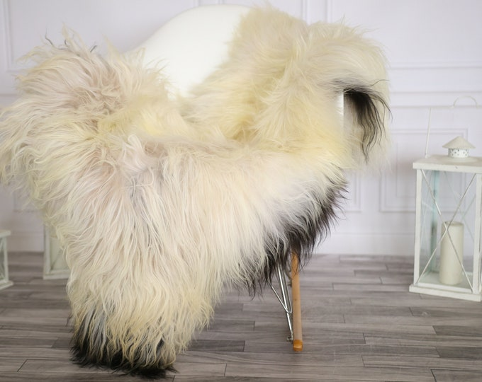 Icelandic Sheepskin | Real Sheepskin Rug |  Super Large Sheepskin Rug Beige Black | Fur Rug | Homedecor #APRISl29