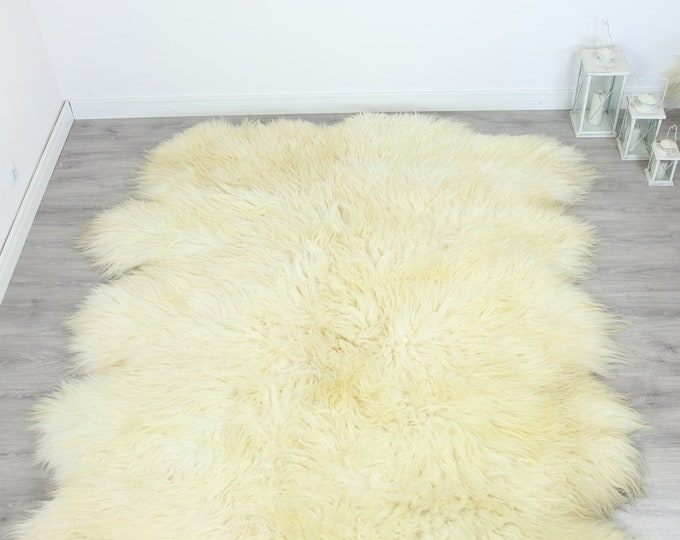 Genuine Natural icelandic creamy white Sheepskin Rug, Giant sheepskin rug, deca sheepskin rug