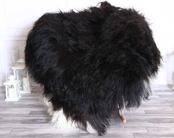 Icelandic Sheepskin | Real Sheepskin Rug | Sheepskin Rug White Black | Fur Rug | Homedecor #WRZISL1