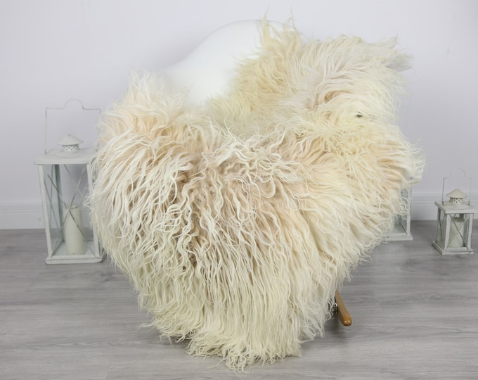 Genuine Rare Mongolian Sheepskin Rug - Curly Fur Rug - Natural Sheepskin - Beige Sheepskin #CURLY3
