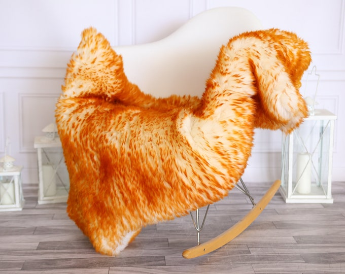 Sheepskin Rug | Real Sheepskin Rug | Shaggy Rug | Scandinavian Rug | | SCANDINAVIAN DECOR | Orange Sheepskin  #MIHER30