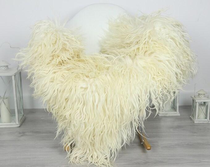 Genuine Rare Mongolian Sheepskin Rug - Curly Fur Rug - Natural Sheepskin - Ivory Sheepskin #CURLY33
