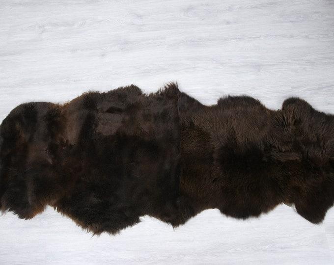 Double Sheepskin Rug | Long rug | Shaggy Rug | Chair Cover | Runner Rug | Brown Rug | Carpet | Brown Sheepskin | Brown Sheepskin LUSZY4