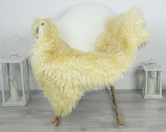 Genuine Rare Tuscan Lamb Sheepskin Rug - Curly Fur Rug - Natural Sheepskin - Ivory  Sheepskin | #CURLY31