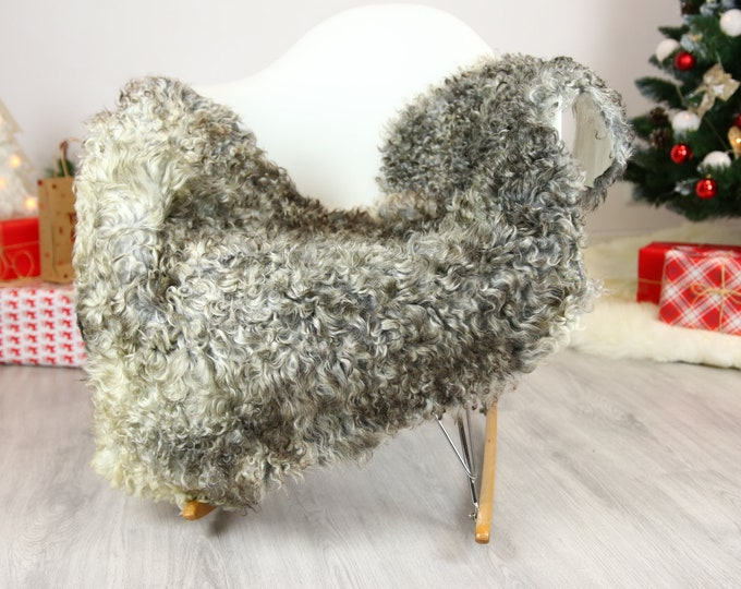 Genuine Rare Gotland Sheepskin Rug - Curly Fur Rug - Natural Sheepskin - Gray  Sheepskin #CHRISTGOT17