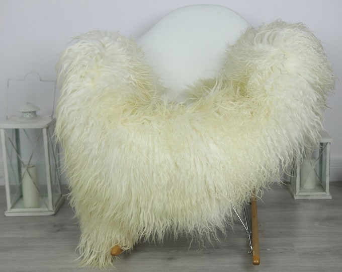 Genuine Rare Mongolian Sheepskin Rug - Curly Fur Rug - Natural Sheepskin - Ivory Sheepskin #CURLY38