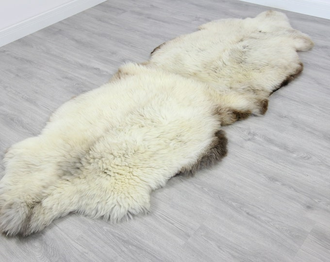 Double XXL Sheepskin Rug | Long rug | Shaggy Rug | Chair Cover | Runner Rug | Carpet | Beige Brown Sheepskin | Sheepskin Rug | 2DD2