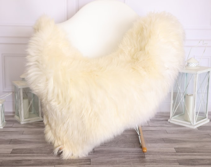Sheepskin Rug | Real Sheepskin Rug | Shaggy Rug | Scandinavian Rug | | SCANDINAVIAN DECOR | White Beige Sheepskin #OLHER17