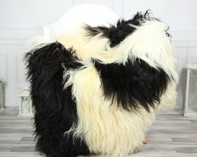 Icelandic Sheepskin | Real Sheepskin Rug | CHRISTMAS DECOR | Sheepskin Rug Ivory Black | Fur Rug | Homedecor #2ISL10