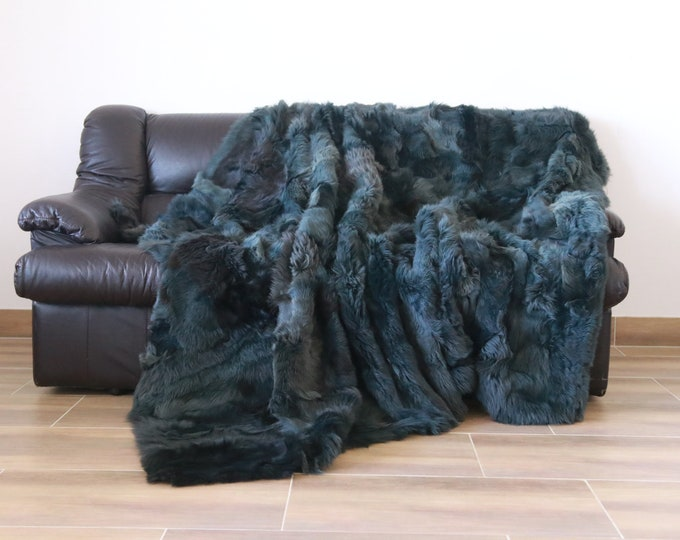 Luxurious Toscana Sheepskin Real Fur Throw | Real Fur Blanket | Sheepskin throw | Green Throw