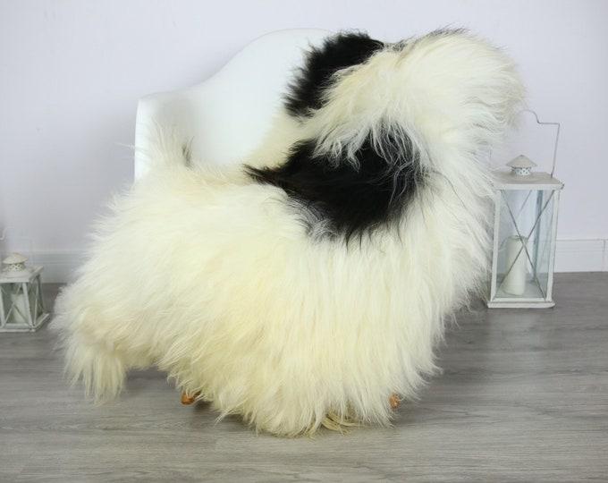 Icelandic Sheepskin | Real Sheepskin Rug | | Large Sheepskin Rug black white | Fur Rug | Homedecor | Sheepskin Throw | Long fur #colisl10