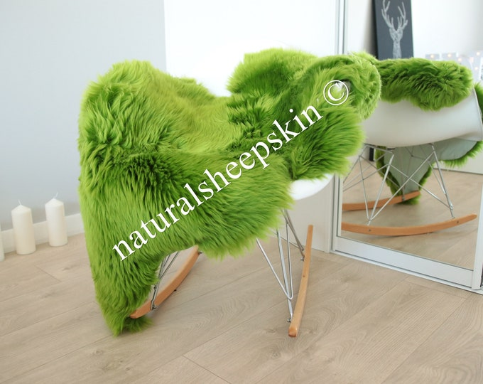 Genuine Natural Green Sheepskin Rug Sheepskin Throw  Scandinavian Style | Scandinavian Rug | Green  Sheepskin