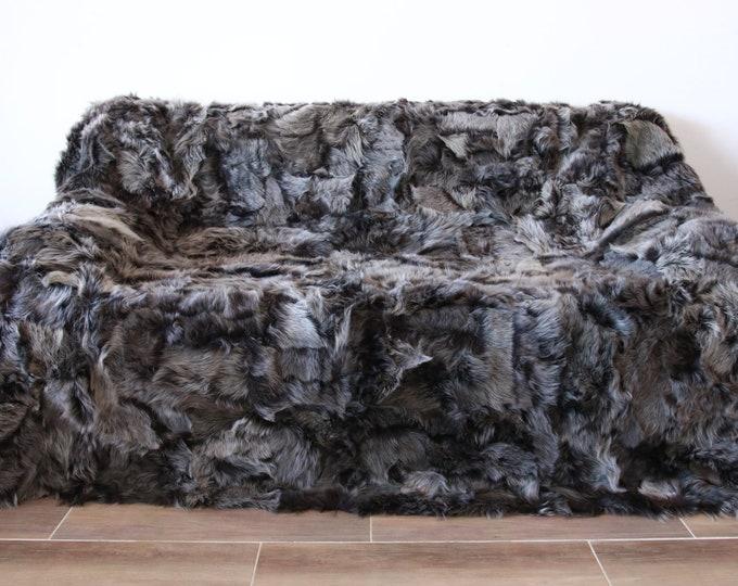 Luxurious Toscana Sheepskin Real Fur Throw | Real Fur Blanket | Sheepskin throw | Gray Brown Throw