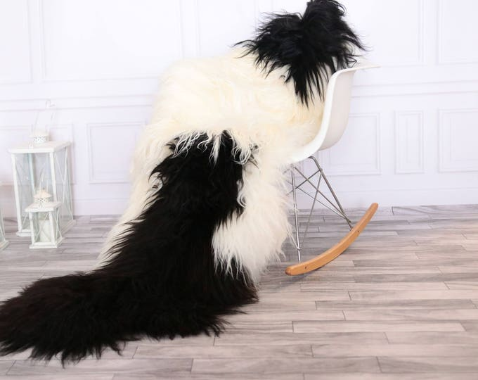 Genuine Double Sheepskin Rug  Black White Large Sheepskin Rug Home Decor Icelandic Sheepskin