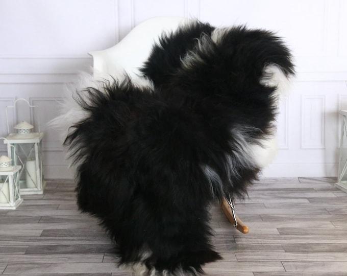 Icelandic Sheepskin | Real Sheepskin Rug | Sheepskin Rug White Black| Fur Rug | Homedecor #WRZISL36