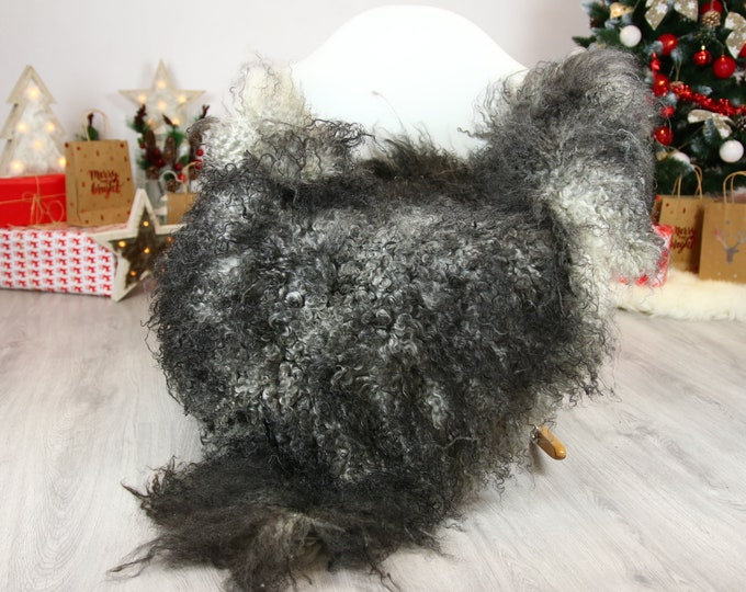 Genuine Rare Gotland Sheepskin Rug - Curly Fur Rug - Natural Sheepskin - Gray  Sheepskin #CHRISTGOT12