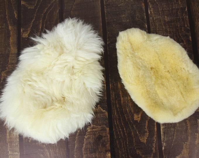Luxurious Genuine Sheepskin Hot Water Bottle Cover Hottie Heat Pad in White Yellow, Both side fur