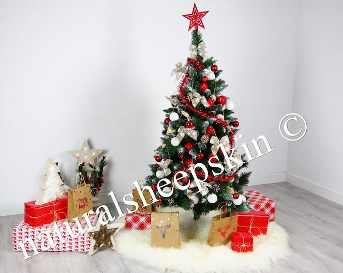 Real Fur Sheepskin Tree Skirt   Christmas Tree Skirt   Creamy White Tree Skirt   Tree Skirt   Christmas Decor