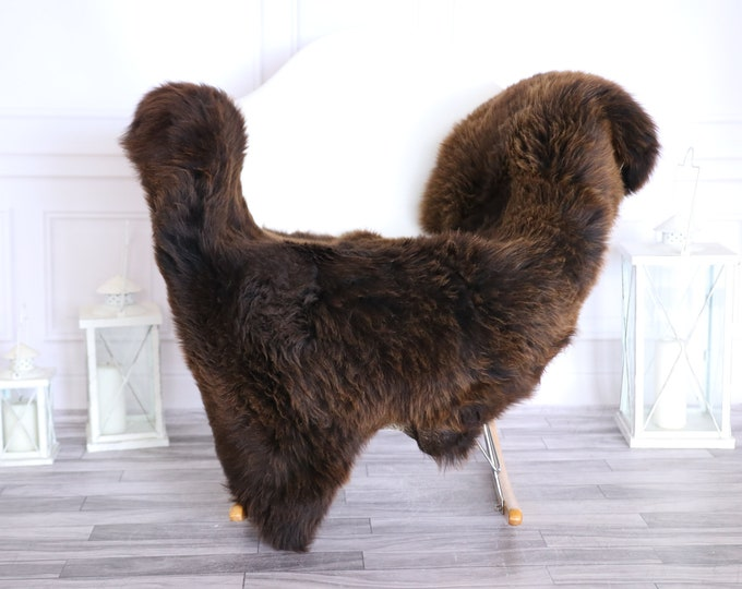 Sheepskin Rug | Real Sheepskin Rug | Shaggy Rug | Scandinavian Rug | | SCANDINAVIAN DECOR | Brown Sheepskin  #MIHER43