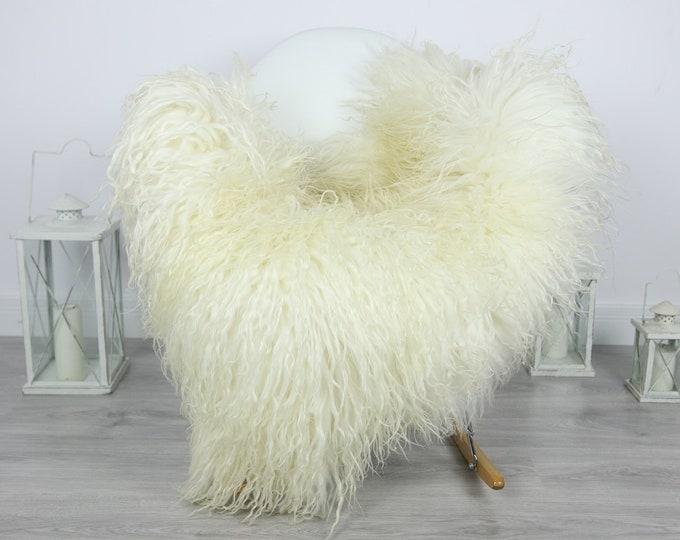 Genuine Rare Mongolian Sheepskin Rug - Curly Fur Rug - Natural Sheepskin - Ivory Sheepskin #CURLY16