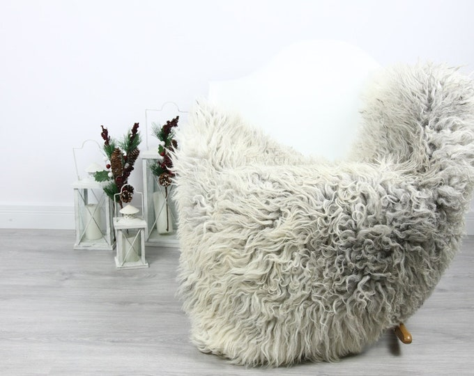 Organic Sheepskin Rug, Real Sheepskin Rug, Curly Sheepskin, Gray Beige Sheepskin Rug Christmas Home #CURLGUT10