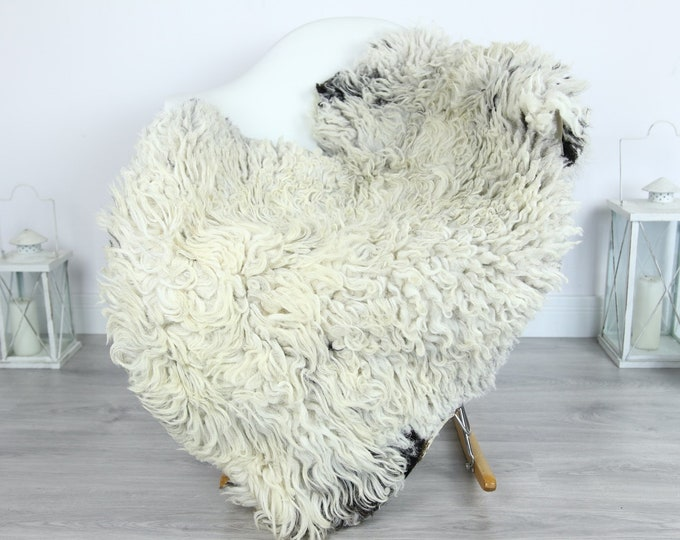 Organic Curly Sheepskin Rug, Real Sheepskin Rug, Gute Sheepskin, Beige Black Sheepskin Rug #GOTKW11