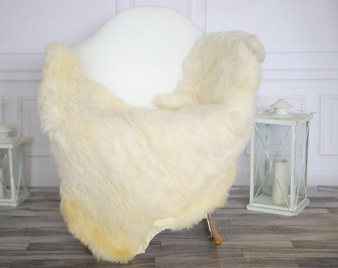 Sheepskin Rug | Real Sheepskin Rug | Shaggy Rug | Chair Cover | Sheepskin Throw |Beige White Sheepskin | Home Decor | #HERMAJ37